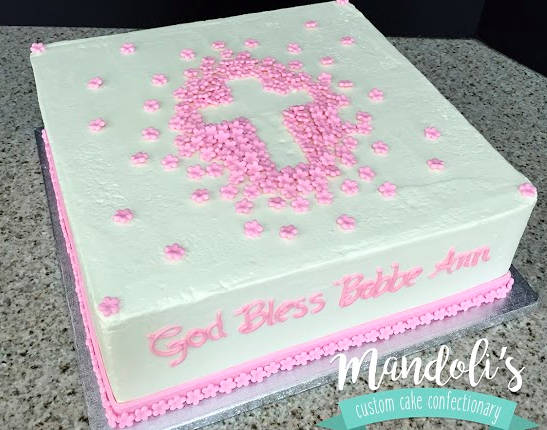 A White Pink Cross Cake